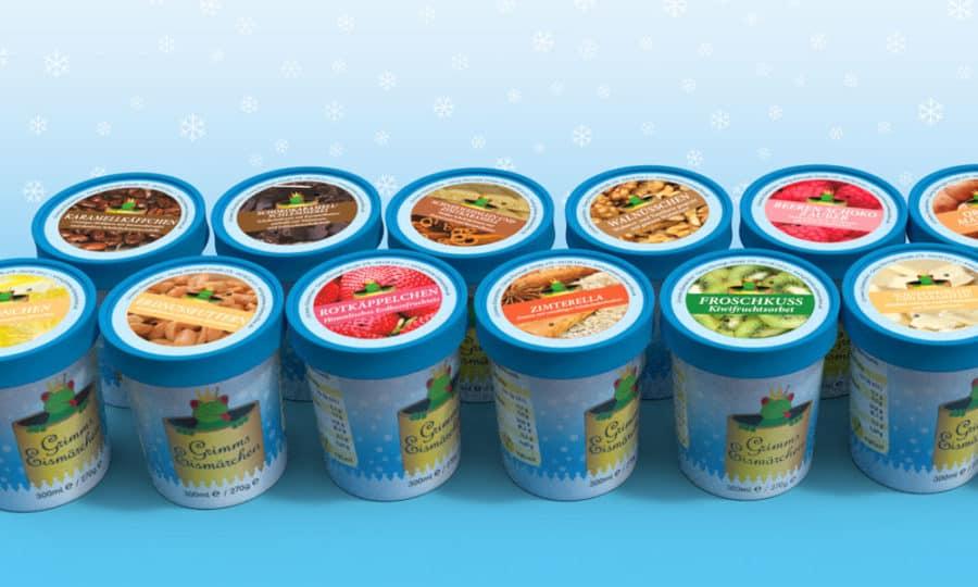Verpackungsgestaltung Grimms Eis