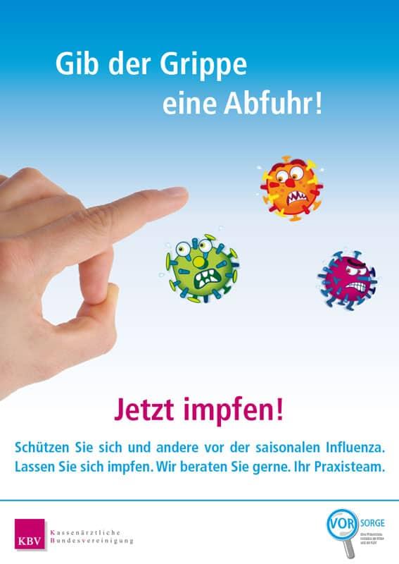 Grippeplakat mit Viren-Illus